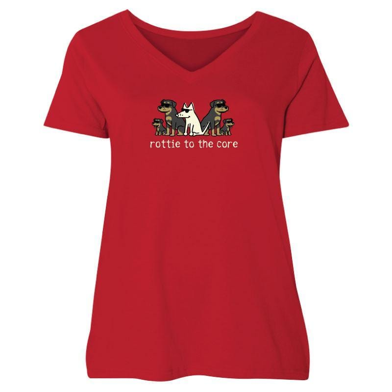 Rottie To The Core - Ladies Curvy V-Neck Tee