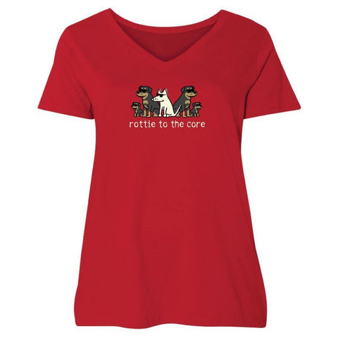 Rottie To The Core Ladies Curvy V-Neck Tee