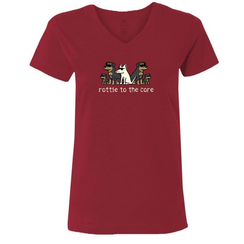 Rottie To The Core - Ladies T-Shirt V-Neck