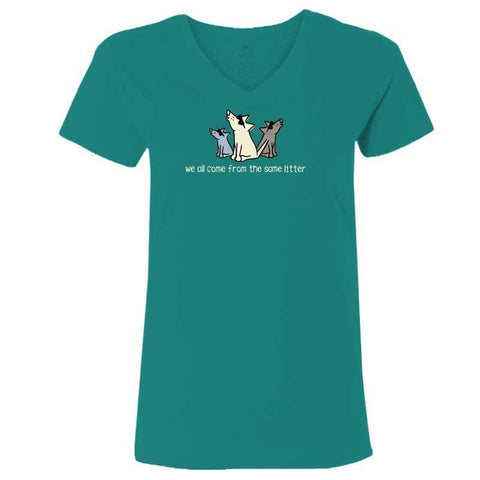 We All Come From The Same Litter - Ladies T-Shirt V-Neck