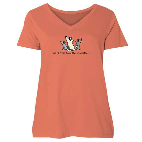 We All Come From The Same Litter - Ladies Curvy V-Neck Tee