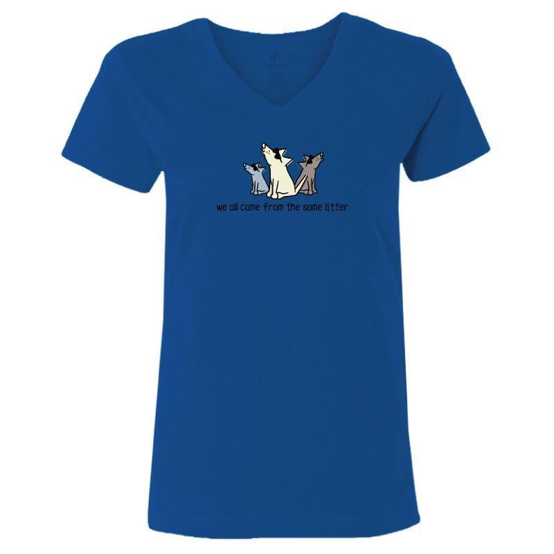 we all come from the same litter ladies v neck t-shirt