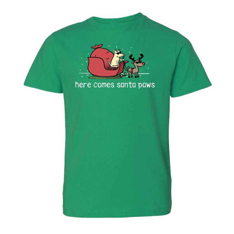 Here Comes Santa Paws - Youth Short Sleeve T-Shirt