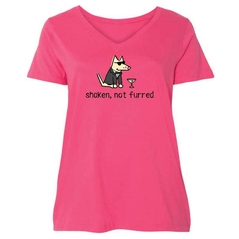 Shaken, Not Furred - Ladies Curvy V-Neck Tee