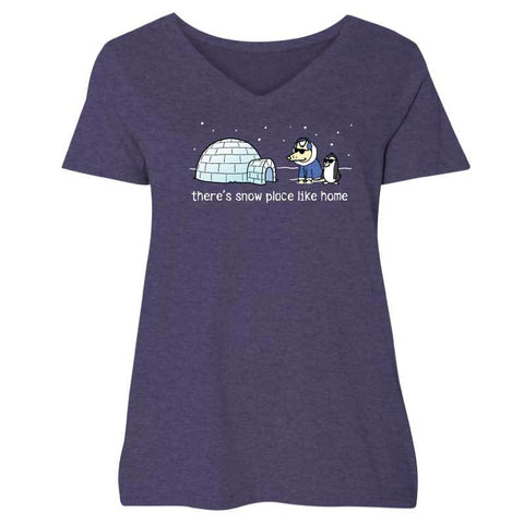 There's Snow Place Like Home  - Ladies Curvy V-Neck Tee