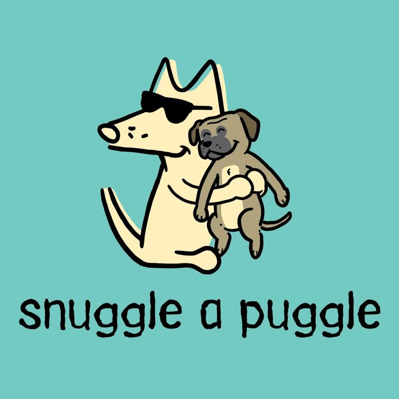 Snuggle A Puggle   - Ladies T-Shirt V-Neck