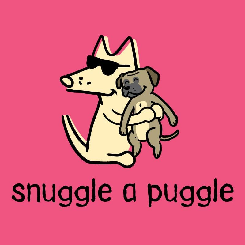 Snuggle A Puggle - Ladies Curvy V-Neck Tee