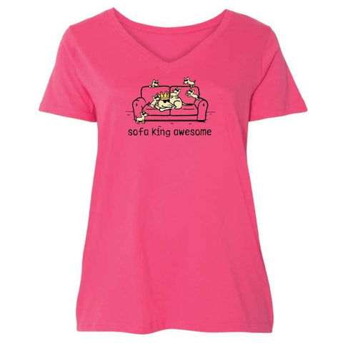 Sofa King Awesome - Ladies Curvy V-Neck Tee