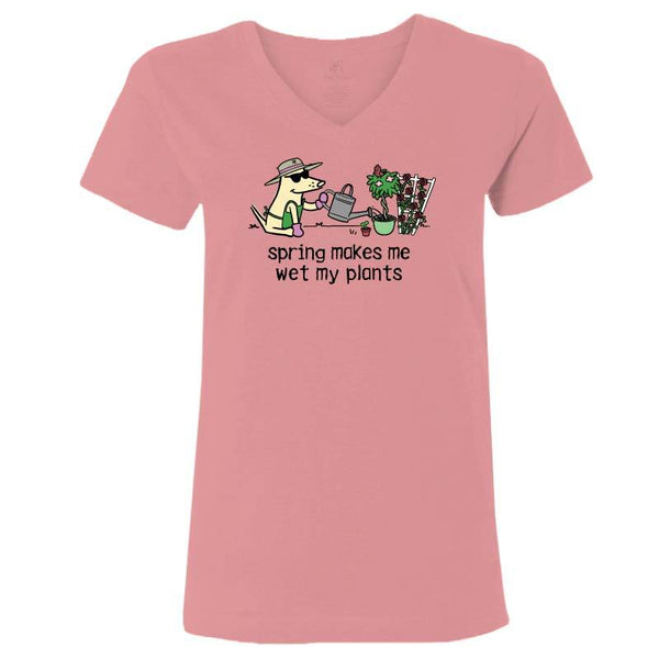 015bec310 Spring Makes Me Wet My Plants - Ladies T-Shirt V-Neck – Teddy the Dog