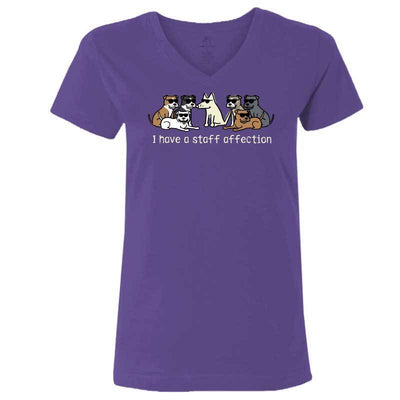 I Have A Staff Affection - Ladies T-Shirt V-Neck - Teddy the Dog T-Shirts and Gifts