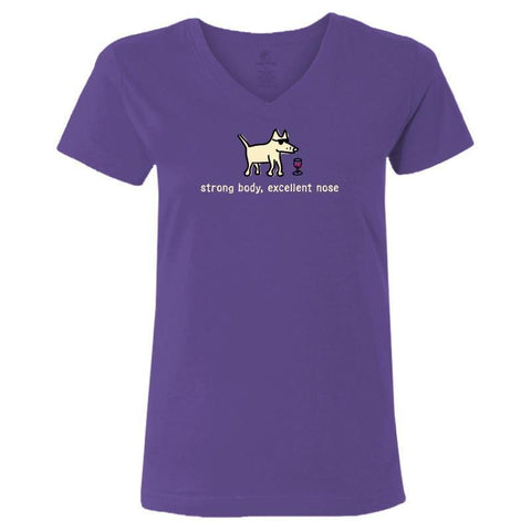 strong body excellent nose ladies v neck t-shirt
