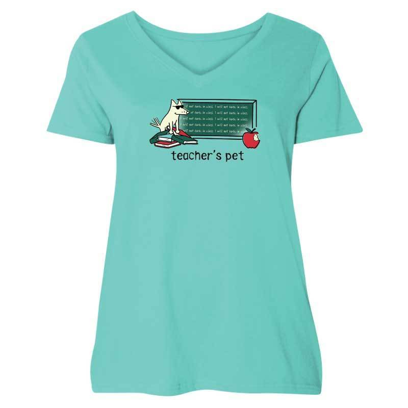 Teacher's Pet - Ladies Curvy V-Neck Tee
