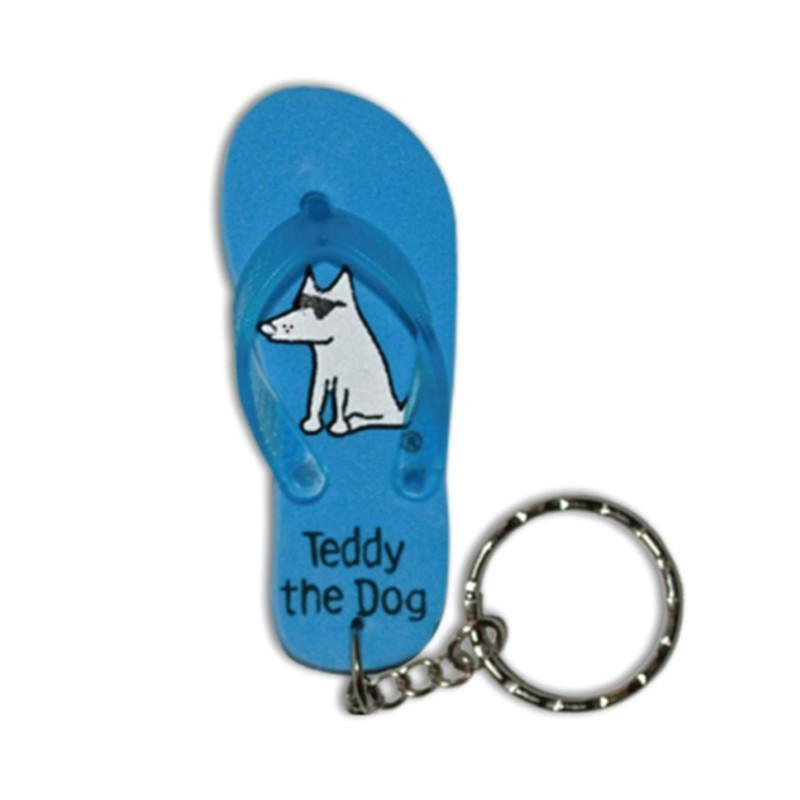 Teddy The Dog Flip Flop Key Chain - Teddy the Dog T-Shirts and Gifts