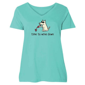 Time To Wine Down - Ladies Curvy V-Neck Tee