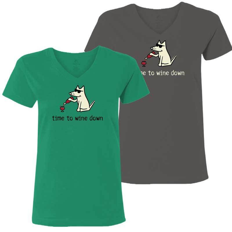 Time To Wine Down - Ladies T-Shirt V-Neck