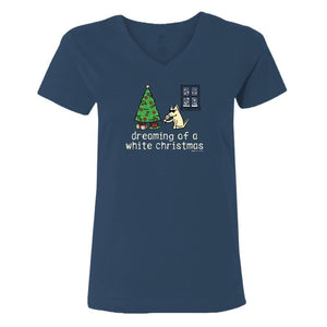 Dreaming Of A White Christmas - Ladies T-Shirt V-Neck