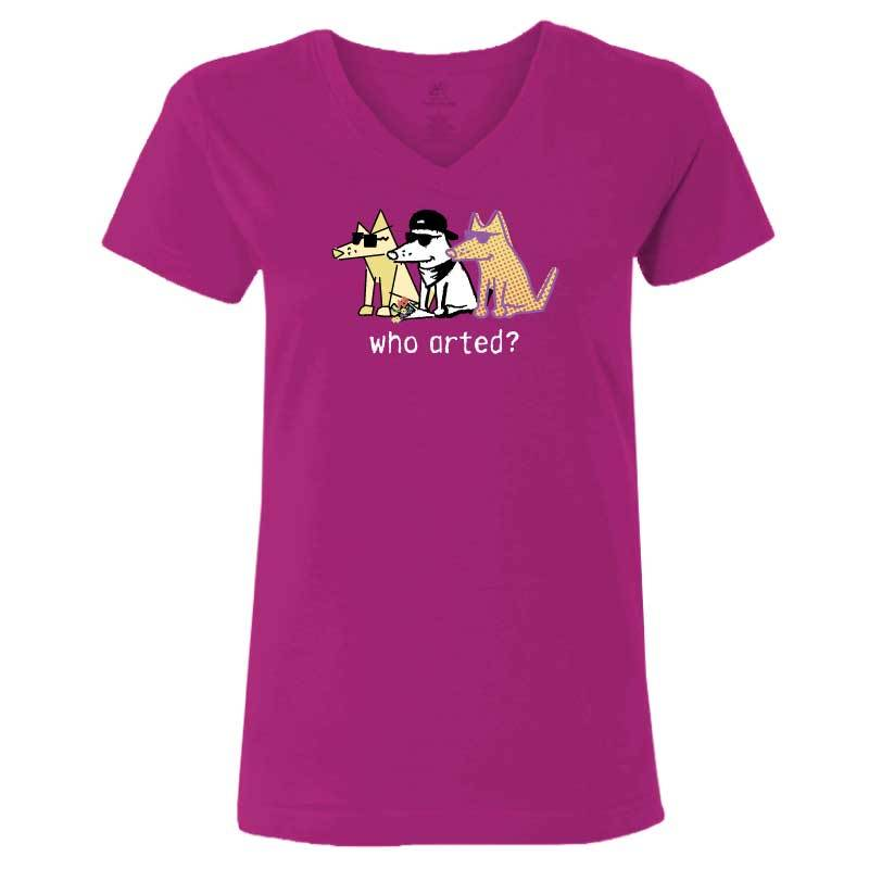 Who Arted? - Ladies T-Shirt V-Neck