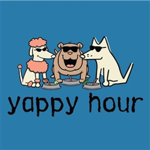 Yappy Hour - Ladies T-Shirt V-Neck - Teddy the Dog T-Shirts and Gifts