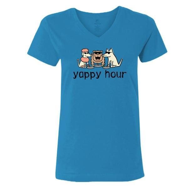 yappy hour ladies v neck t-shirt