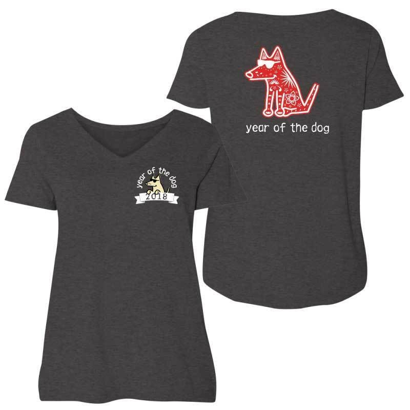 Year Of The Dog - Ladies Curvy V-Neck Tee