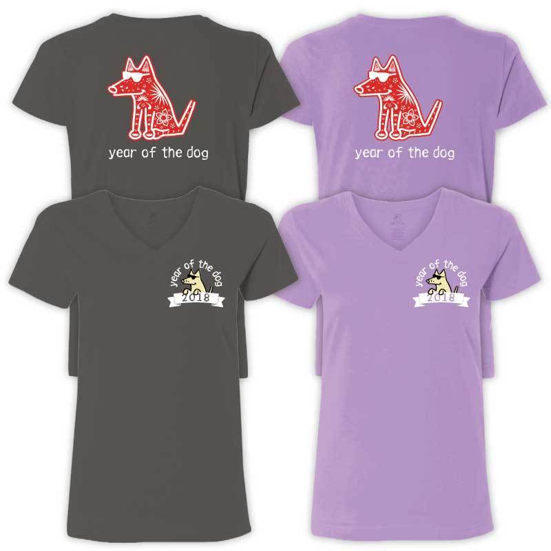 Year Of The Dog - Ladies T-Shirt V-Neck