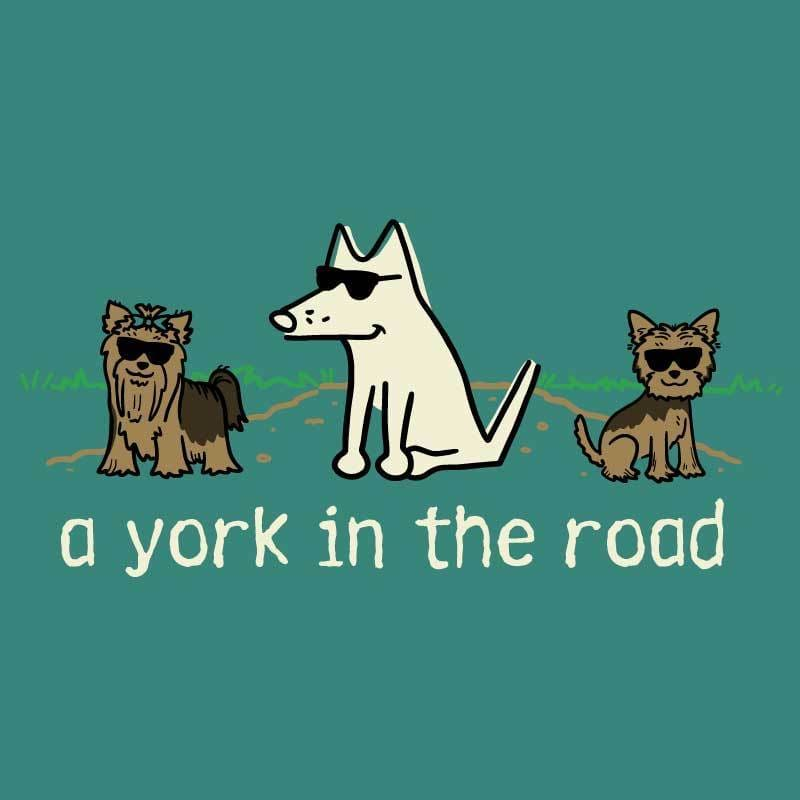 A York In The Road - Ladies T-Shirt 3-4 Sleeve - Teddy the Dog T-Shirts and Gifts