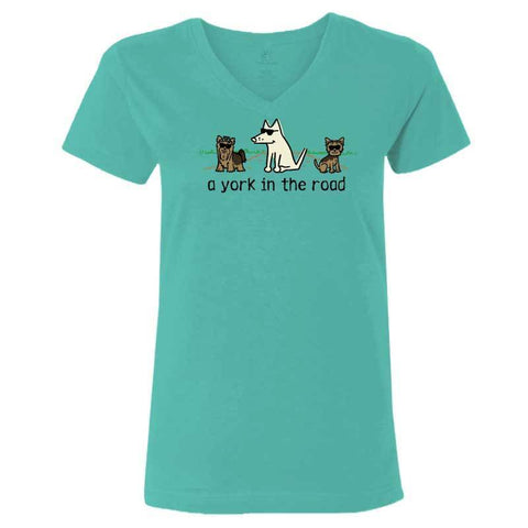 A York In the Road - Ladies T-Shirt V-Neck - Teddy the Dog T-Shirts and Gifts