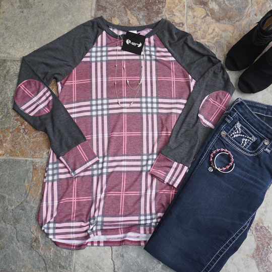 Plaid Top with Dark Heather Grey Sleeves and Plaid Elbow Detail - Limited Availablity