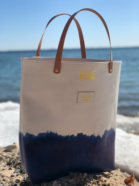 BLUE Gold Leather Tote