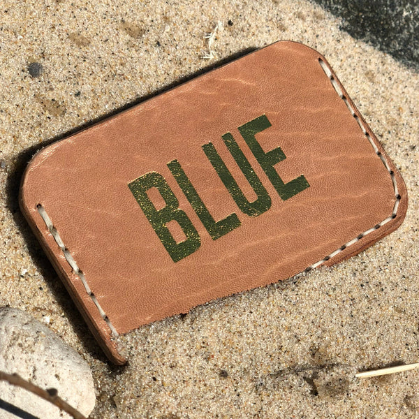 BLUE Gold leather card holder
