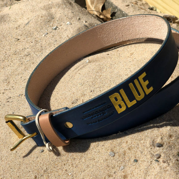BLUE gold leather belt