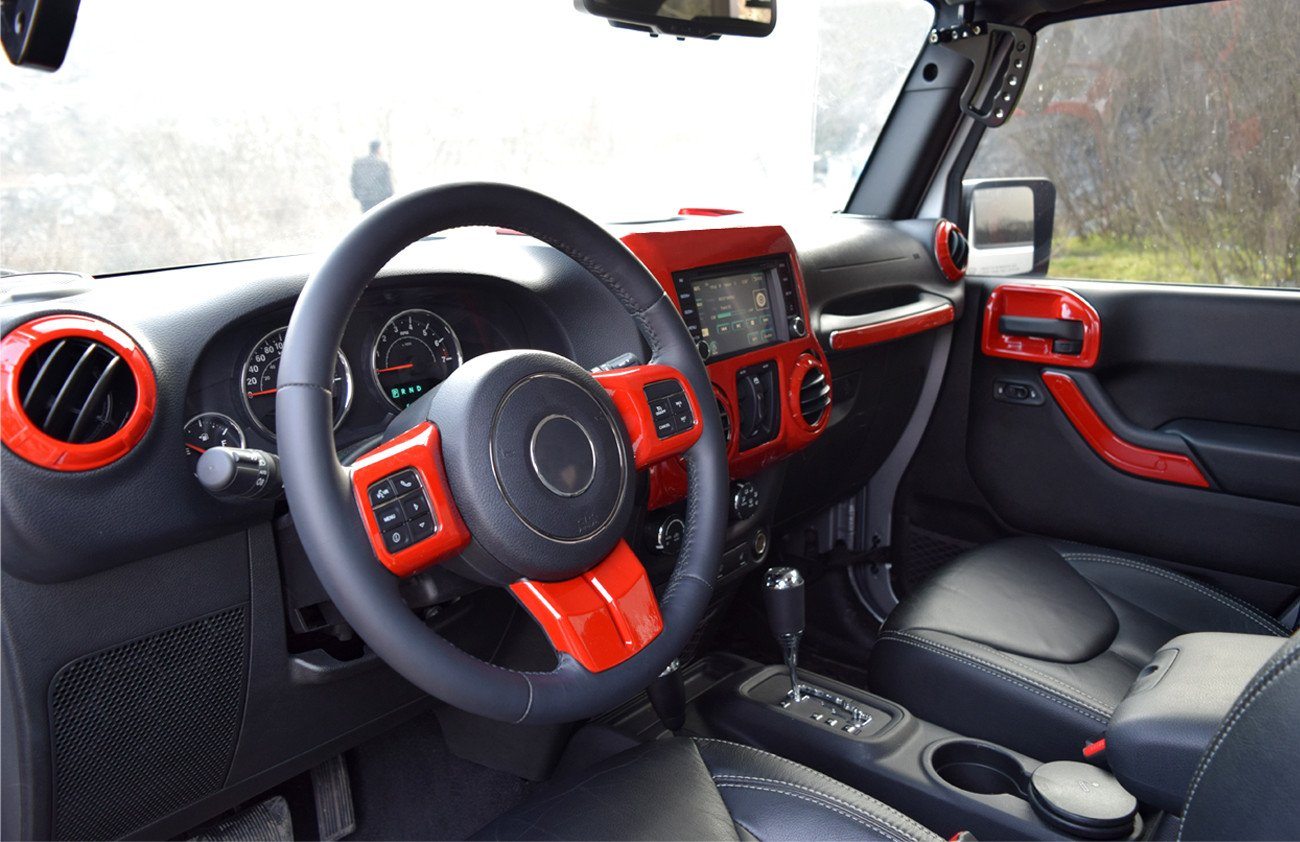 jeep wrangler 4 door interior. red interior cover trim kit for 4 door jeep wrangler jk 2011201712pcs