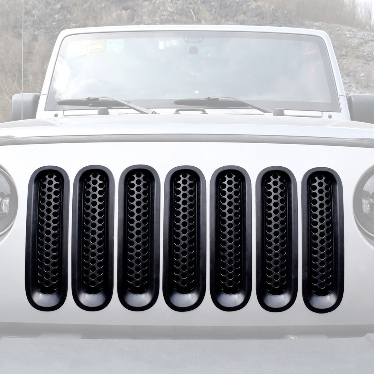 upgrade clip in version matte black grill inserts for jeep