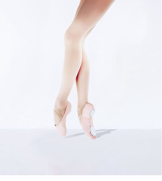Split sole canvas ballet shoe in light pink.