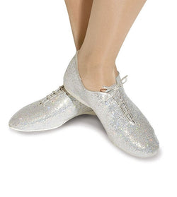 Silver sparkle hologram jazz shoes