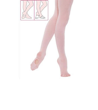 Childrens convertible dance tights in pink. Ideal for ballet dancing or other styles of dancing.