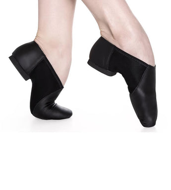Slip on Split Sole Jazz Shoe by So Danca. Available in black and caramel.