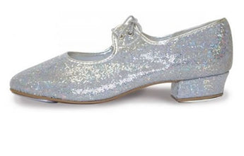 Hologram, sparkly, silver tap shoes