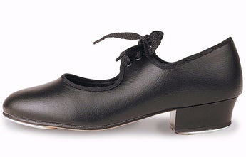 Black Tap Shoe with low Heel from Roch Valley Dancewear.