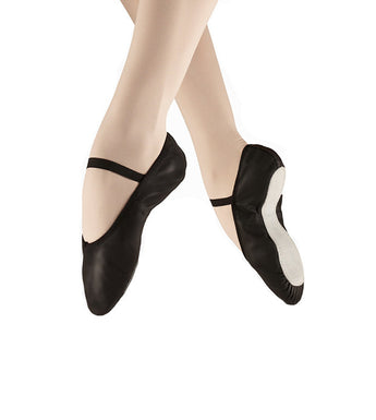 Full sole black leather ballet shoes