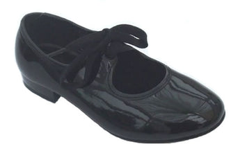 Black patent tap shoes for adults and children.