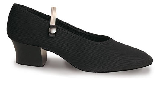 Cuban heel character dance shoes in black canvas