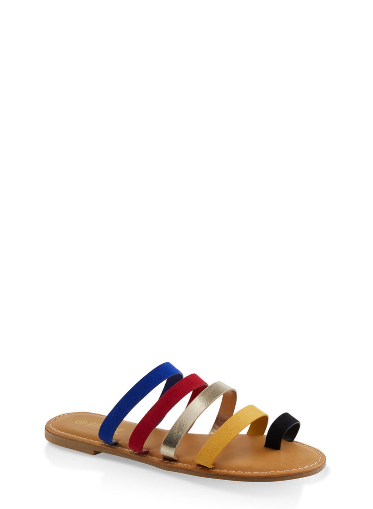 Multicoloured Strap Slide Slippers