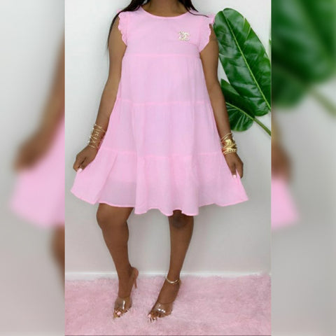 Cute Layered Pink Dress