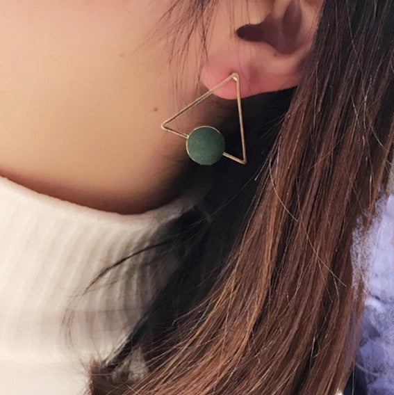 Geometric Triangle Earing - Green