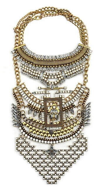 Gold Crystal 2 Piece Statement Necklace