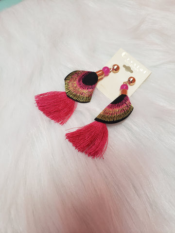 Pink Embroidered Tassel Earring