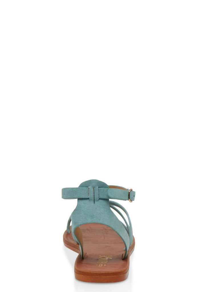 Multi Strap Faux Leather Sandals