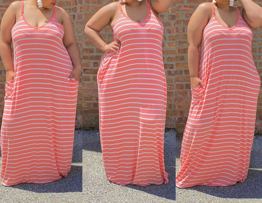 Plus Size Striped Maxi Dress (Copper)
