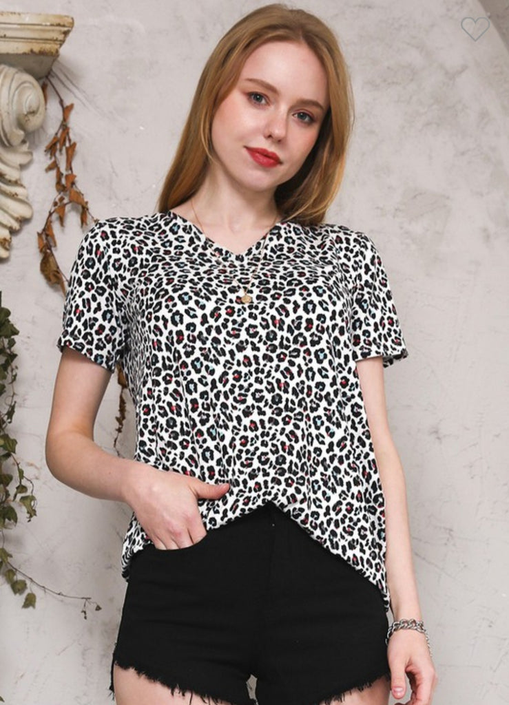 Multicolour Leopard Casual Tee